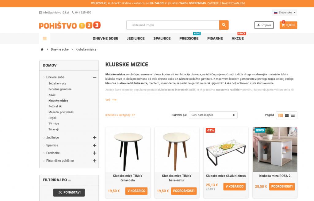spletna storitev prenova spletne trgovine